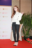 Jassica of Girls' Generation attends activity of Mission Hills World Celebrity Proam on October 23 2014 in Hong Kong China