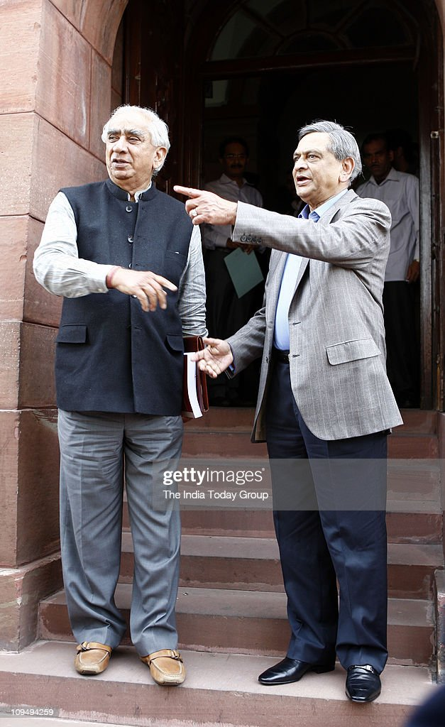 <a gi-track='captionPersonalityLinkClicked' href=/galleries/search?phrase=Jaswant+Singh&family=editorial&specificpeople=220287 ng-click='$event.stopPropagation()'>Jaswant Singh</a> and External Affairs Minister <a gi-track='captionPersonalityLinkClicked' href=/galleries/search?phrase=S.+M.+Krishna&family=editorial&specificpeople=4666304 ng-click='$event.stopPropagation()'>S. M. Krishna</a> arrive to attend the budget session of Parliament on Friday, February 25, 2011.
