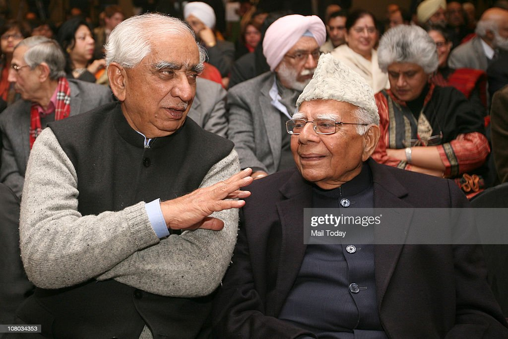 <a gi-track='captionPersonalityLinkClicked' href=/galleries/search?phrase=Jaswant+Singh&family=editorial&specificpeople=220287 ng-click='$event.stopPropagation()'>Jaswant Singh</a> with Ram Jethmalani during the MJ Akbar's Book Launch Tinderbox;The Past and Future of Pakistan on January 11,2011 in New Delhi.