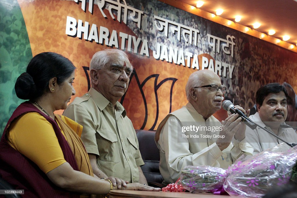 <a gi-track='captionPersonalityLinkClicked' href=/galleries/search?phrase=Jaswant+Singh&family=editorial&specificpeople=220287 ng-click='$event.stopPropagation()'>Jaswant Singh</a> with Sushma Swaraj, L K Advani and Nitin Gadkari at the BJP office in Delhi to announce <a gi-track='captionPersonalityLinkClicked' href=/galleries/search?phrase=Jaswant+Singh&family=editorial&specificpeople=220287 ng-click='$event.stopPropagation()'>Jaswant Singh</a>'s formally rejoining the party.