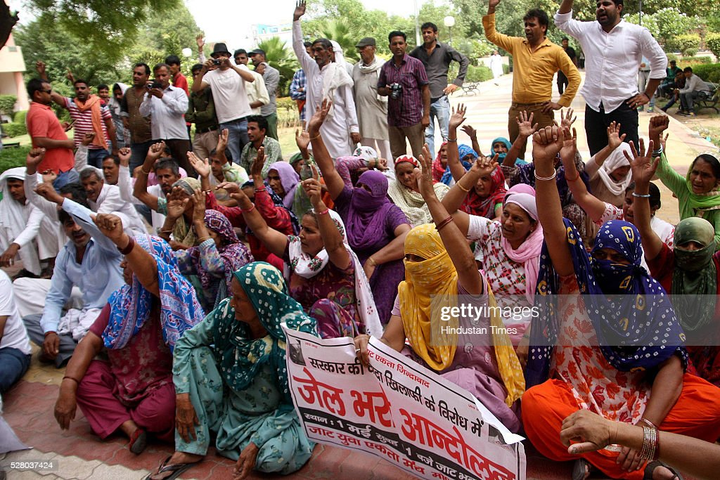 Jat activists raising slogans in the mini secretariat to protest against arrests of community people for alleged role during the riots on May 3, 2016 in Rohtak, India. Activists blamed senior Jat leaders for the low turnout at the protest against the Haryana Government for not releasing youths arrested during the Jat agitation for reservation.