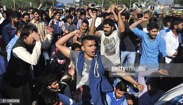 Jat community protests on the roads demanding reservations in government services as they block Chandigarh Delhi/Shimla Highway at Old Panchkula...