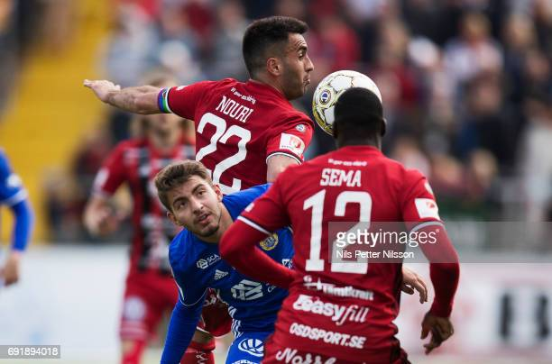 Jaudet Salih of GIF Sundsvall and Brwa Nouri of Ostersunds FK competes for the ball during the Allsvenskan match between Ostersunds FK and GIF...