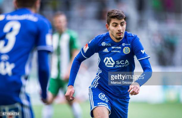 Jaudet Salih of GIF Sundsvall during the Allsvenskan match between Hammarby IF and GIF Sundsvall at Tele2 Arena on April 23 2017 in Stockholm Sweden