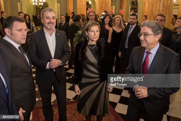 Jaume Collboni Carme Forcadell and Enric Millo attend the Gran Teatre del Liceu 20th Anniversary Celebration on February 6 2017 in Barcelona Spain