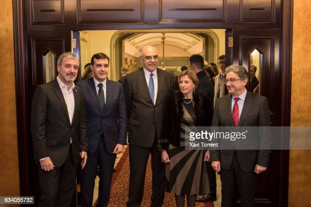 Jaume Collboni Salvador Alemany Carme Forcadell and Enric Millo attend the Gran Teatre del Liceu 20th Anniversary Celebration on February 6 2017 in...
