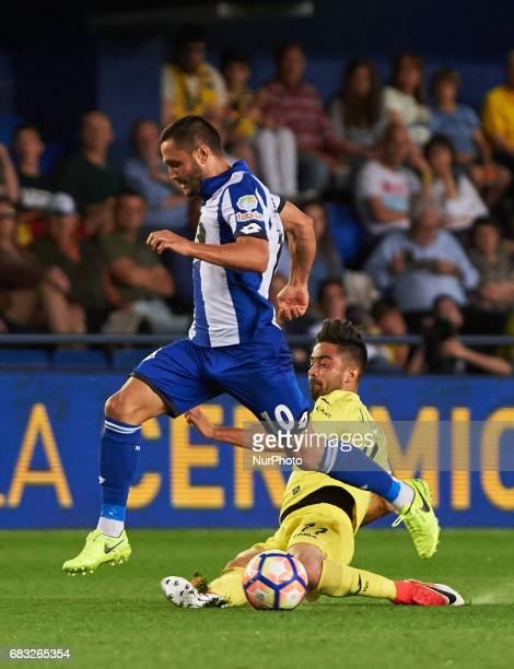 Jaume Costa of Villarreal CF and Florin Andone of Deportivo de la Coruna during their La Liga match between Villarreal CF and Deportivo de la Coruna...