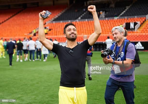 Jaume Costa of Villarreal CF celebrates after their La Liga match between Valencia CF and Villarreal CF at the Mestalla Stadium on 21th May 2017 in...