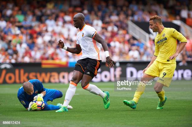Jaume Domenchec and Eliaquim Mangala of Valencia CF and Roberto Soldado of Villarreal CF during their La Liga match between Valencia CF and...