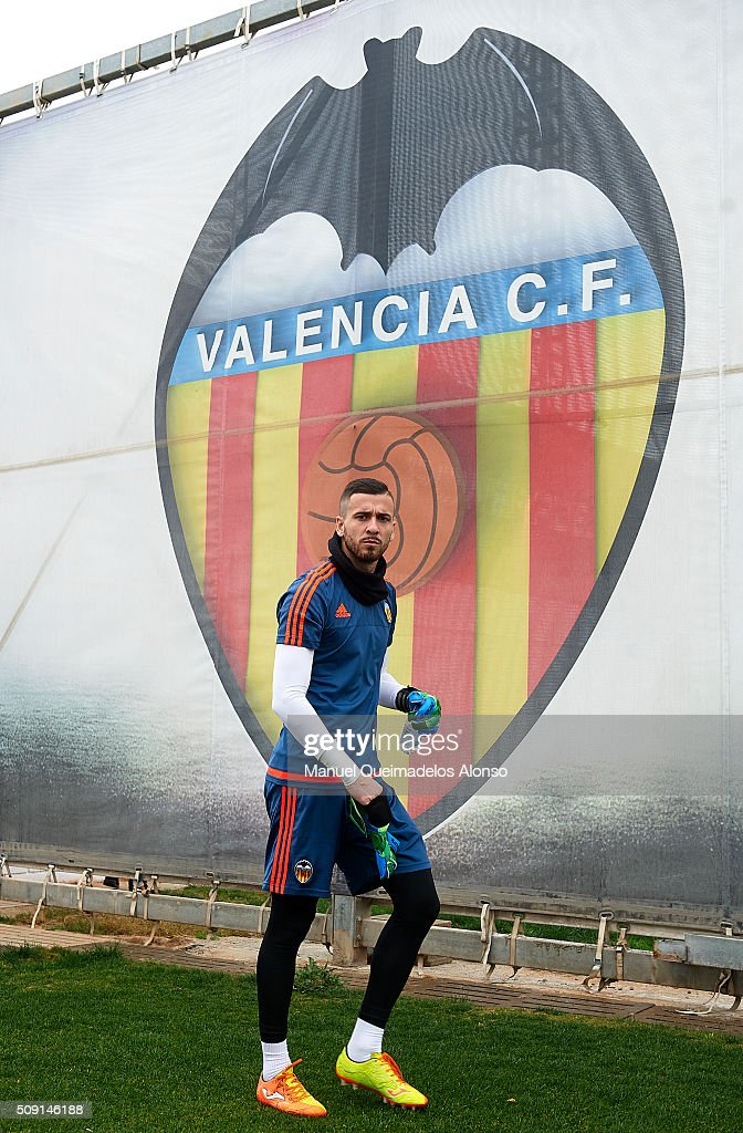 Jaume Domenech of Valencia arrives for a Valencia CF training session ahead of Wednesday's Copa del Rey Semi Final, second leg match between Valencia CF and FC Barcelona at Paterna Training Centre on February 9, 2016 in Valencia, Spain.
