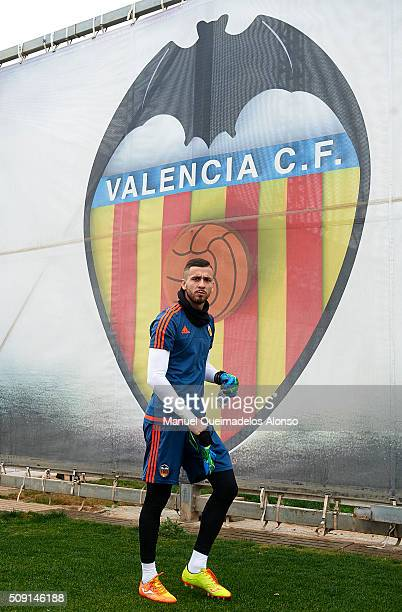 Jaume Domenech of Valencia arrives for a Valencia CF training session ahead of Wednesday's Copa del Rey Semi Final second leg match between Valencia...