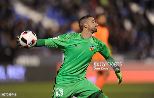 Jaume Domenech of Valencia CF throws the ball during the Copa del Rey Round of 32 match between CD Leganes and Valencia CF at Estadio Municipal de...