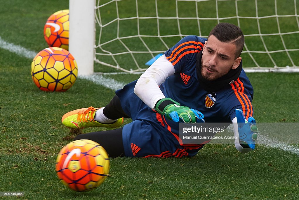 Jaume Domenech of Valencia in action during a training session ahead La Liga match between Valencia CF and RCD Espanyol at Paterna Training Centre on February 12, 2016 in Valencia, Spain.