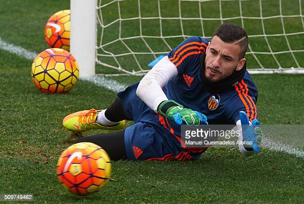 Jaume Domenech of Valencia in action during a training session ahead La Liga match between Valencia CF and RCD Espanyol at Paterna Training Centre on...