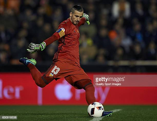 Jaume Domenech of Valencia in action during the Copa del Rey round of 16 first leg match between Valencia CF and Celta de Vigo at Estadi de Mestalla...