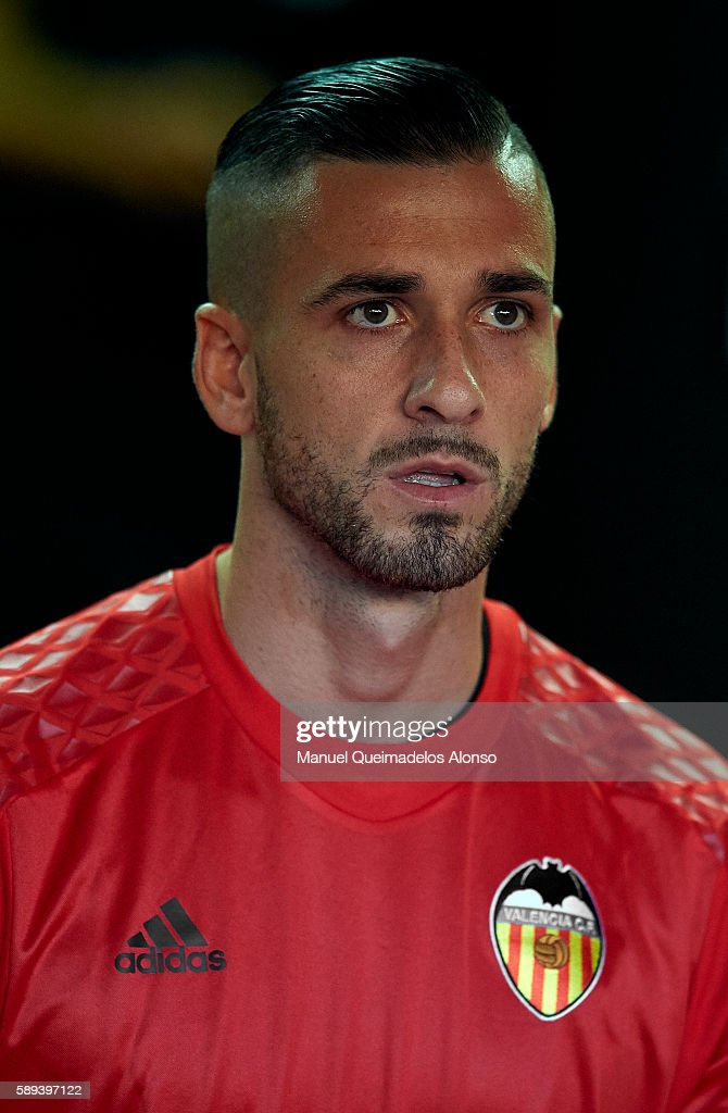 Jaume Domenech of Valencia looks on during the team official presentation ahead of the pre-season friendly match between Valencia CF and AC Fiorentina at Estadio Mestalla on August 13, 2016 in Valencia, Spain.