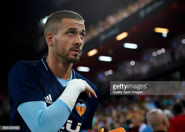 Jaume Domenech of Valencia looks on prior the La Liga match between Valencia and Las Palmas at Estadio Mestalla on August 18 2017 in Valencia