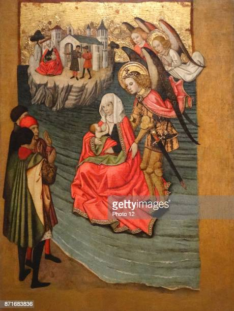 Jaume Huguet Miracle of Mont SaintMichel Tempera stucco reliefs and gold leaf on wood Around 14551460