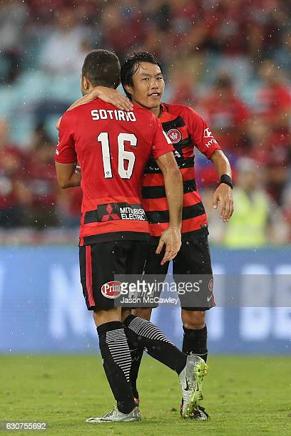 Jaushua Sotirio of the Wanderers is congratulated by Jumpei Kusukami of the Wanderers after scoring a goal during the round 13 ALeague match between...