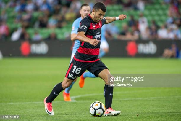 Jaushua Sotirio of the Western Sydney Wanderers prepares to kick the bal during Round 6 of the Hyundai ALeague Series between Melbourne City and the...