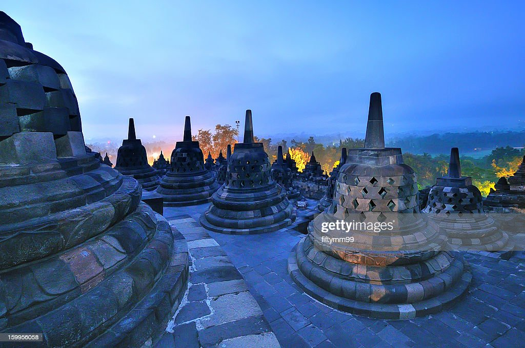 Java indonesia - borobudur in the morning : Stock Photo