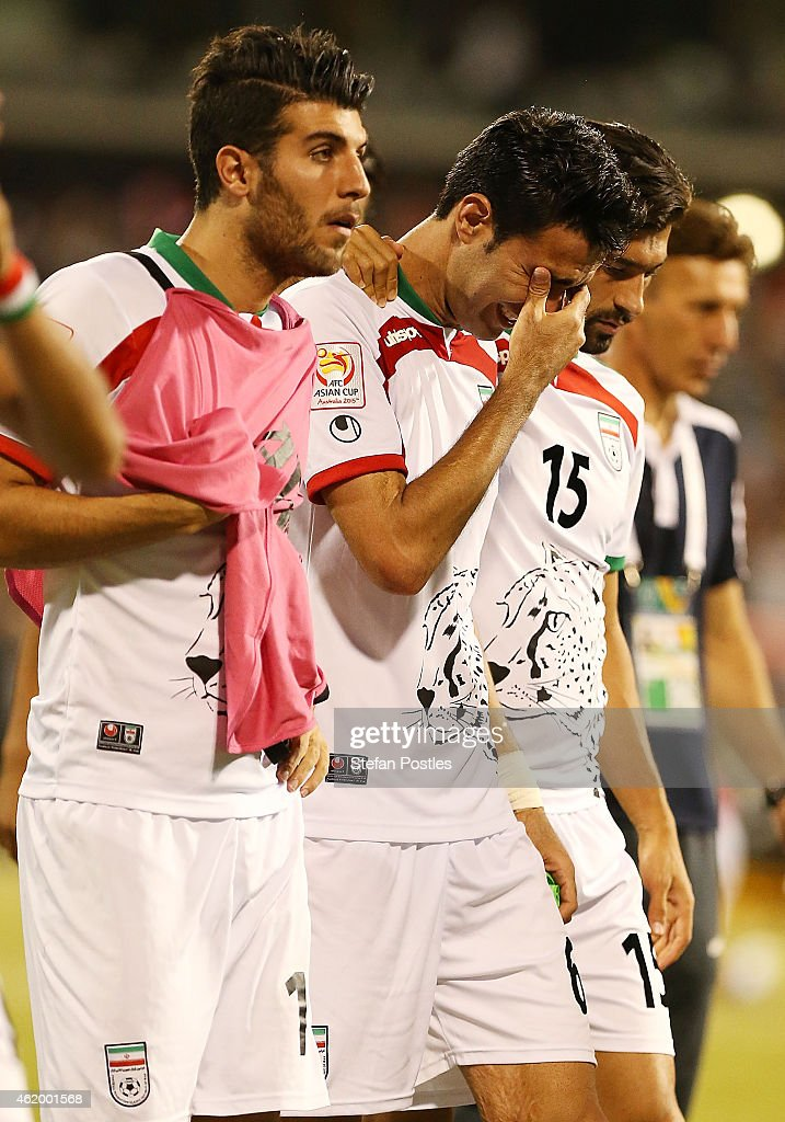 Javad Nekonam of Iran reacts after the 2015 Asian Cup match between Iran and Iraq at Canberra Stadium on January 23, 2015 in Canberra, Australia.