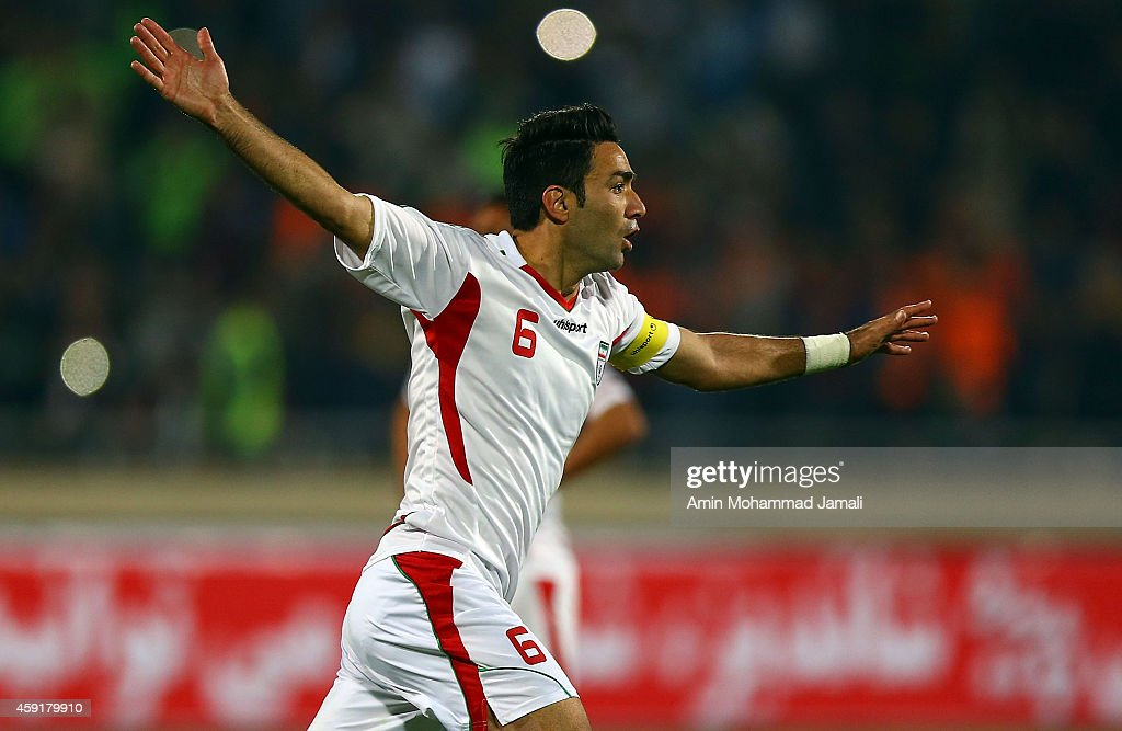 Javad Nekounam celebrates during Iran against South Korea in International Friendly match on November 18, 2014 in Tehran, Iran.