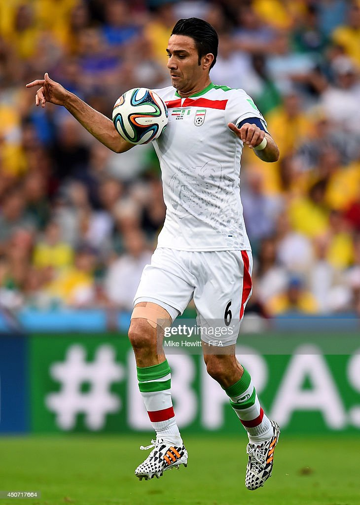 Javad Nekounam of Iran in action during the 2014 FIFA World Cup Brazil Group F match between Iran and Nigeria at Arena da Baixada on June 16, 2014 in Curitiba, Brazil.