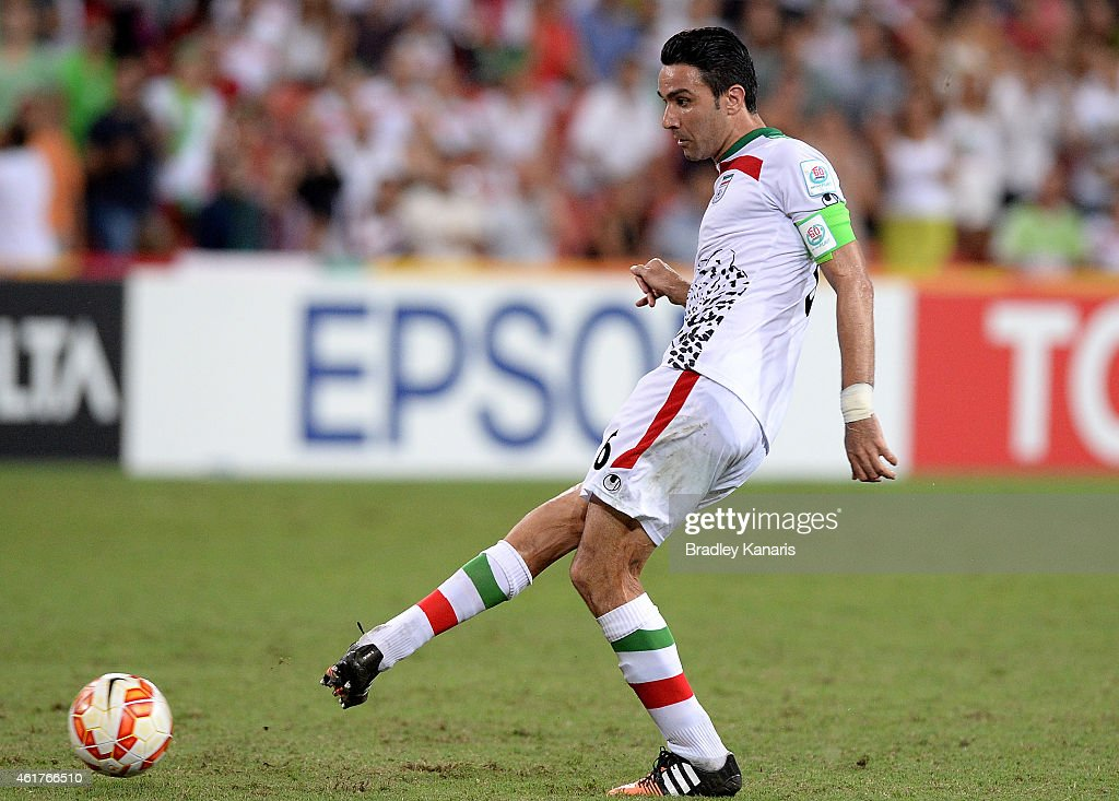 Javad Nekounam of Iran passes the ball during the 2015 Asian Cup match between IR Iran and the UAE at Suncorp Stadium on January 19, 2015 in Brisbane, Australia.