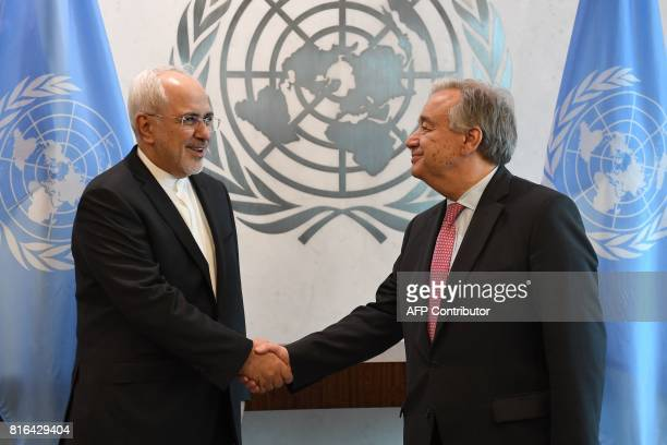 CORRECTION Javad Zarif Minister for Foreign Affairs Islamic Republic of Iran meets with United Nations SecretaryGeneral António Guterres on July 17...