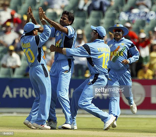 Javagal Srinath of India is congratulated by teammates after trapping Aravinda De Silva of Sri Lanka for lbw during the ICC Cricket World Cup 2003...
