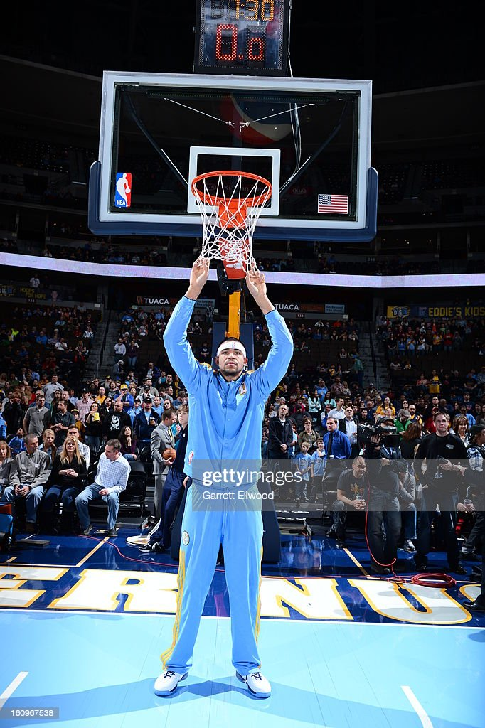 <a gi-track='captionPersonalityLinkClicked' href=/galleries/search?phrase=JaVale+McGee&family=editorial&specificpeople=4195625 ng-click='$event.stopPropagation()'>JaVale McGee</a> #34 of the Denver Nuggets during the game against the Milwaukee Bucks on February 5, 2013 at the Pepsi Center in Denver, Colorado.