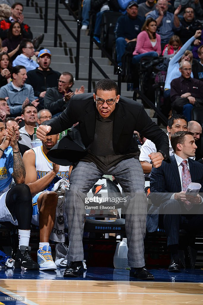 <a gi-track='captionPersonalityLinkClicked' href=/galleries/search?phrase=JaVale+McGee&family=editorial&specificpeople=4195625 ng-click='$event.stopPropagation()'>JaVale McGee</a> #34 of the Denver Nuggets gets excited from the bench during the game against the Houston Rockets on January 30, 2013 at the Pepsi Center in Denver, Colorado.