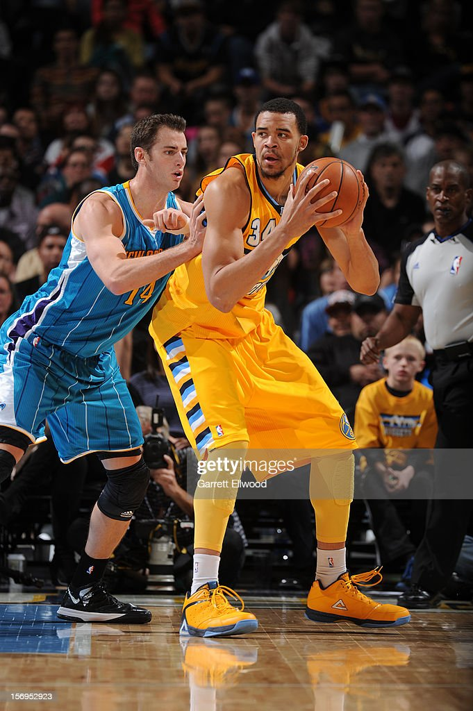 JaVale McGee #34 of the Denver Nuggets protects the ball from Jason Smith #14 of the New Orleans Hornets during the game between the New Orleans Hornets and the Denver Nuggets on November 25, 2012 at the Pepsi Center in Denver, Colorado.