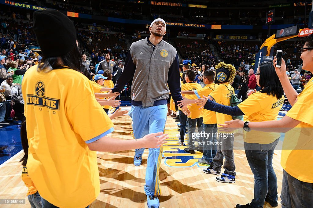 <a gi-track='captionPersonalityLinkClicked' href=/galleries/search?phrase=JaVale+McGee&family=editorial&specificpeople=4195625 ng-click='$event.stopPropagation()'>JaVale McGee</a> #34 of the Denver Nuggets runs out before the game against the Minnesota Timberwolves on March 9, 2013 at the Pepsi Center in Denver, Colorado.