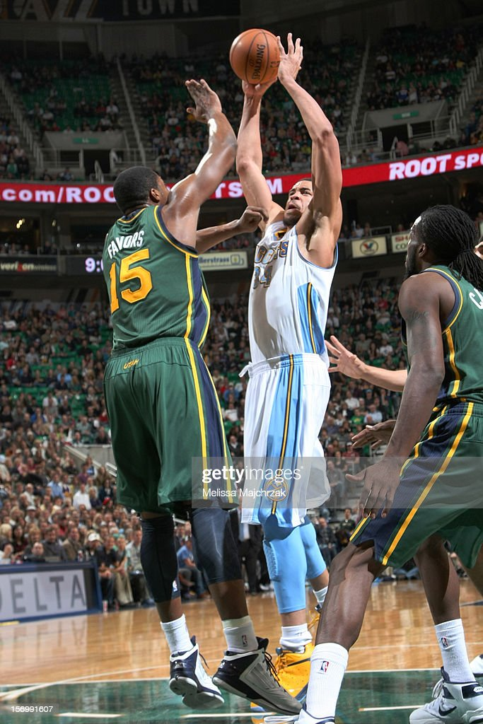 <a gi-track='captionPersonalityLinkClicked' href=/galleries/search?phrase=JaVale+McGee&family=editorial&specificpeople=4195625 ng-click='$event.stopPropagation()'>JaVale McGee</a> #34 of the Denver Nuggets shoot against <a gi-track='captionPersonalityLinkClicked' href=/galleries/search?phrase=Derrick+Favors&family=editorial&specificpeople=5792014 ng-click='$event.stopPropagation()'>Derrick Favors</a> #15 of the Utah Jazz at Energy Solutions Arena on November 26, 2012 in Salt Lake City, Utah.