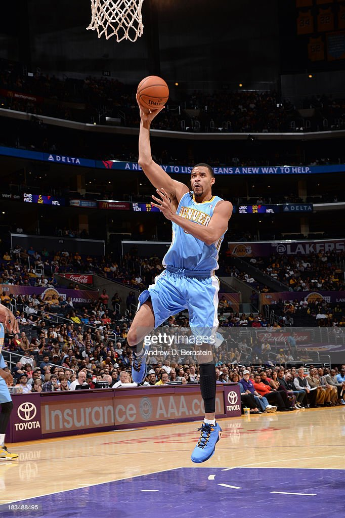 <a gi-track='captionPersonalityLinkClicked' href=/galleries/search?phrase=JaVale+McGee&family=editorial&specificpeople=4195625 ng-click='$event.stopPropagation()'>JaVale McGee</a> #34 of the Denver Nuggets shoots during a game against the Los Angeles Lakers at STAPLES Center on October 10, 2013 at in Los Angeles, California.