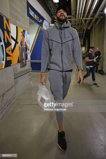 JaVale McGee of the Golden State Warriors arrives at the arena before Game Three of the Western Conference Semifinals against the Utah Jazz during...