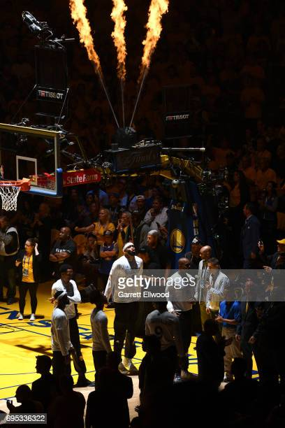 JaVale McGee of the Golden State Warriors before the game against the Cleveland Cavaliers in Game Five of the 2017 NBA Finals on June 12 2017 at...