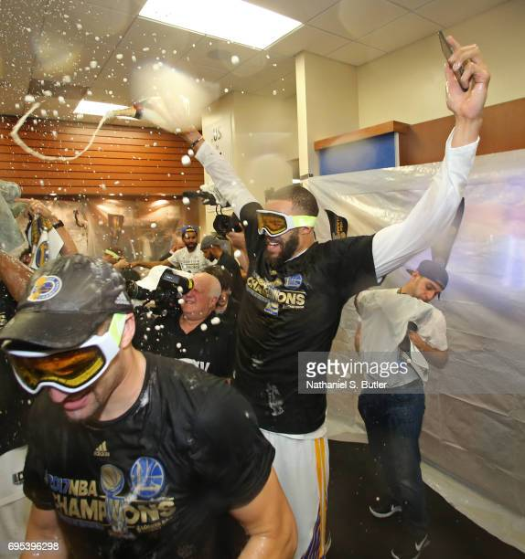 JaVale McGee of the Golden State Warriors celebrates in the locker room after winning the NBA Championsip in Game Five of the 2017 NBA Finals against...