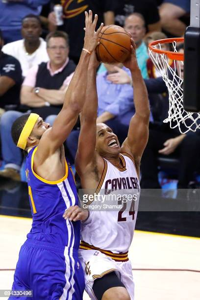 JaVale McGee of the Golden State Warriors defends Richard Jefferson of the Cleveland Cavaliers in the first quarter in Game 4 of the 2017 NBA Finals...