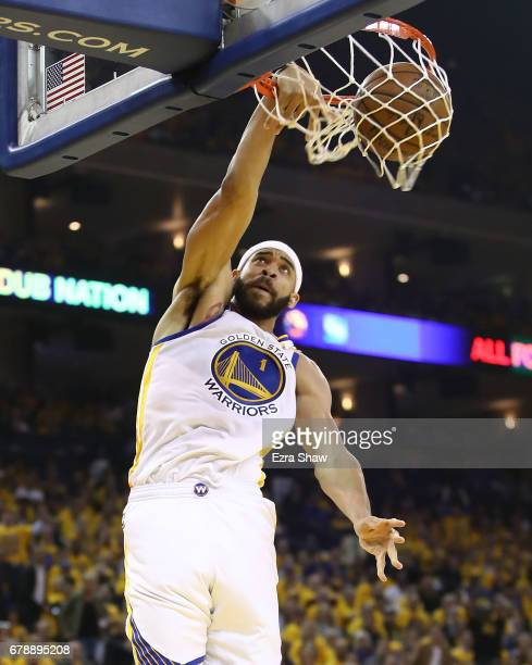 JaVale McGee of the Golden State Warriors dunks against the Utah Jazz during Game Two of the NBA Western Conference SemiFinals at ORACLE Arena on May...
