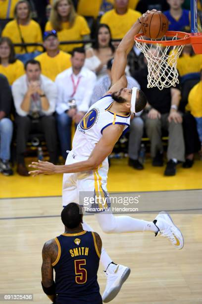JaVale McGee of the Golden State Warriors dunks the ball against the Cleveland Cavaliers in Game 1 of the 2017 NBA Finals at ORACLE Arena on June 1...