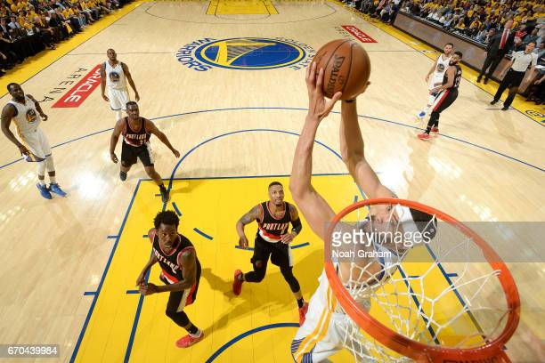 JaVale McGee of the Golden State Warriors goes for a dunk during the game against the Portland Trail Blazers during Game Two of the Western...