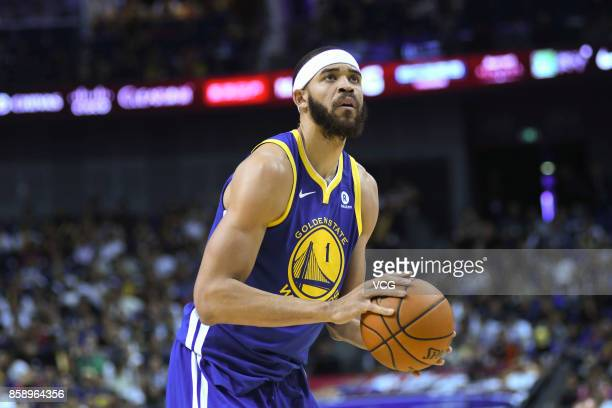 JaVale McGee of the Golden State Warriors holds the ball during the game against the Minnesota Timberwolves as part of 2017 NBA Global Games China on...