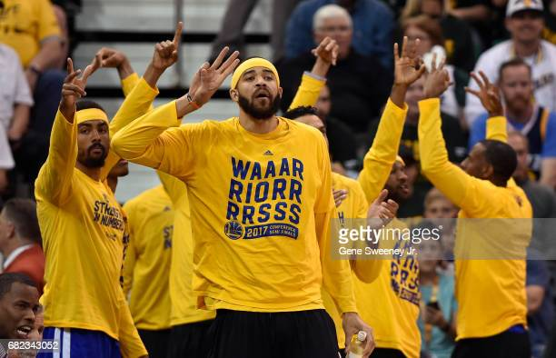 JaVale McGee of the Golden State Warriors leads the bench in celebrating a basket during their game against the Utah Jazz in Game Four of the Western...