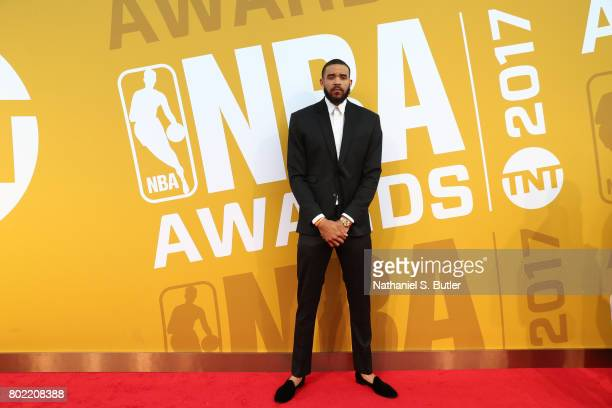 JaVale McGee of the Golden State Warriors on the red carpet at the NBA Awards Show on June 26 2017 at Basketball City at Pier 36 in New York City New...