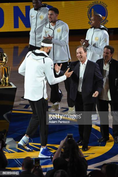 JaVale McGee of the Golden State Warriors receives his ring during the NBA Championship ring ceremony on October 17 2017 at ORACLE Arena in Oakland...