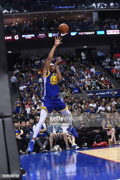 JaVale McGee of the Golden State Warriors saves a loose ball during the game against the Minnesota Timberwolves as part of 2017 NBA Global Games...
