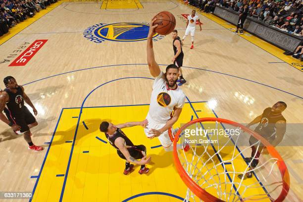 JaVale McGee of the Golden State Warriors shoots the ball against the Los Angeles Clippers on January 28 2017 at oracle Arena in Oakland California...
